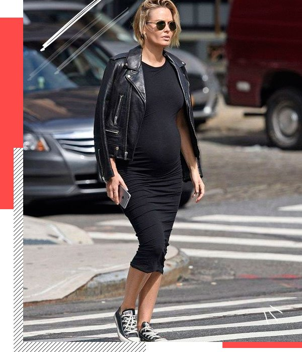 Lara Bingle - black-dress - pregnant - summer - street-style