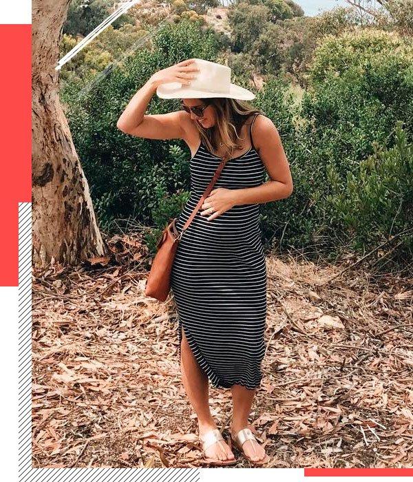 Natalie Borton - vestido-listrado - grávidas - verão - street-style