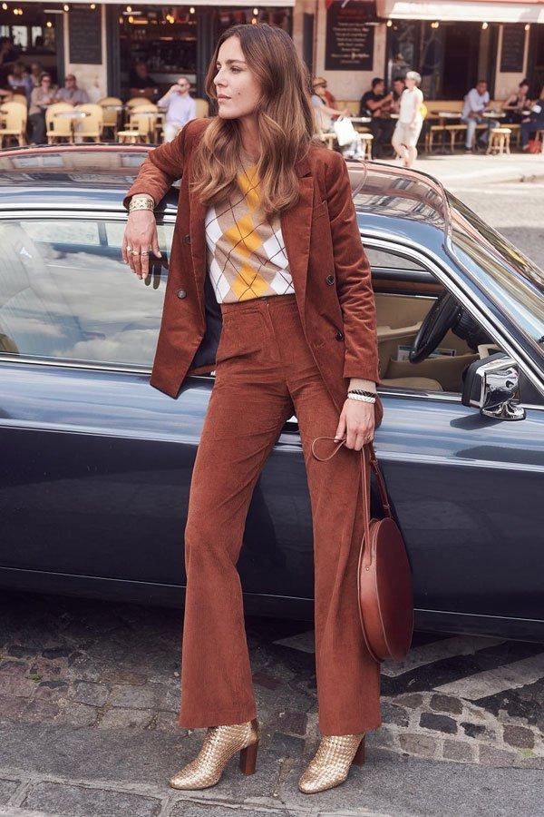 reprodução  - calça e blazer - terninho - inverno - street style
