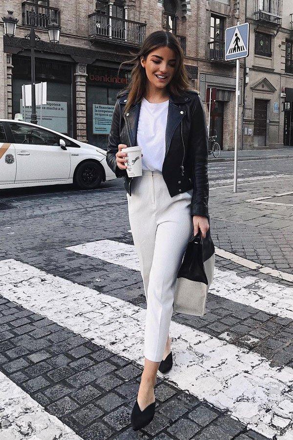 Sandra Rodrigues - calça e camiseta com jaqueta - jaqueta de couro - meia-estação - street style