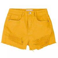 Shorts De Sarja Na Base Pin Up Detalhes Destroyed