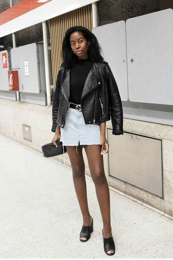 Sylvie Mus - saia curta e jaqueta - jaqueta de couro - verão - street style