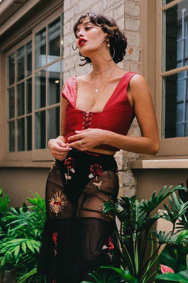Taylor Lashae - cropped e calça - decote quadrado - verão - street style