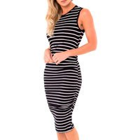 Midi Bibi Pregnant Dress - Black Stripes