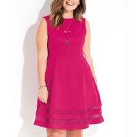 Quintess Pink Transparency Dress With Transparency