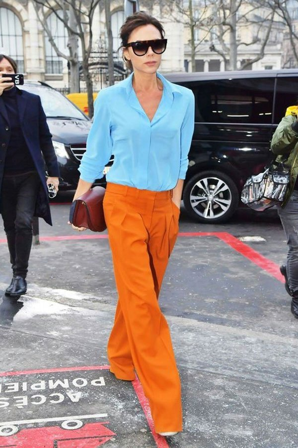 Victoria Beckham - pants and shirt - colorful - mid-season - street style