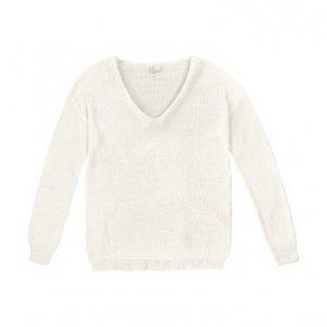Suéter Em Tricô Com Decote V