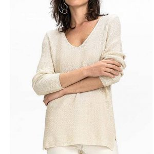 Suéter Em Tricô De Algodão Com Fibra Metalizada