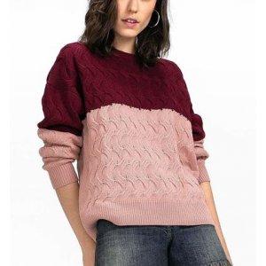 Suéter Em Tricô Com Dupla Coloração