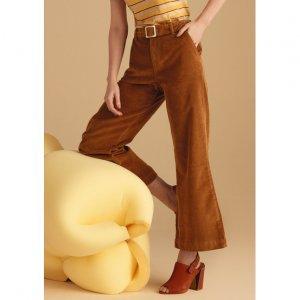 Calça Cropped Wide Leg Em Veludo Cotele De Algodão Com Cinto