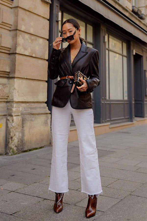 Aimee Song - blazer de couro e calça branca -      - meia-estação - street style