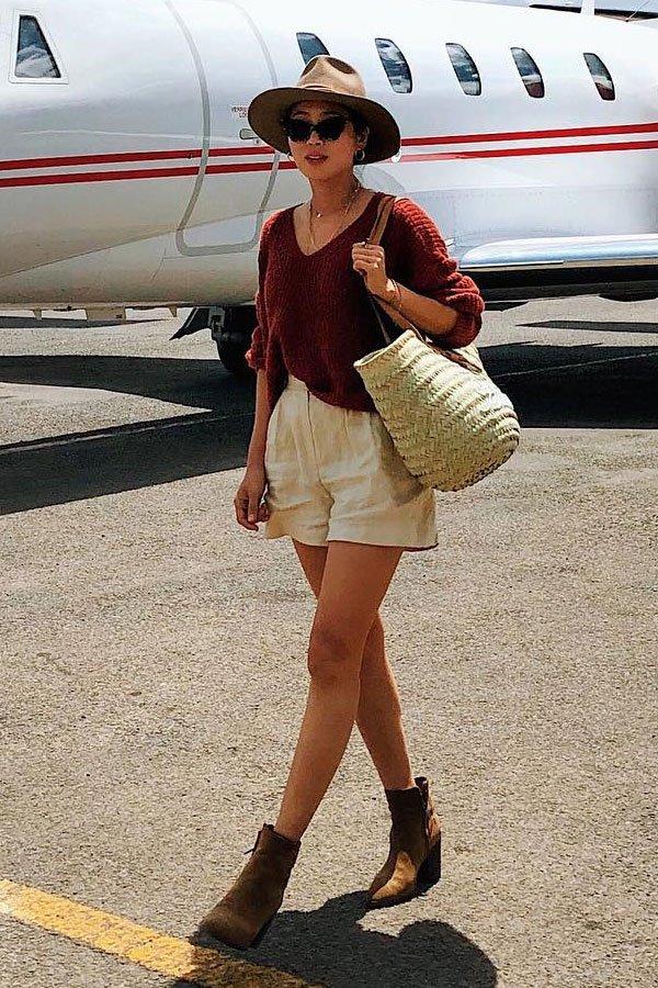 Aimee Song - tricot e short de linho - linho - meia-estação - street style