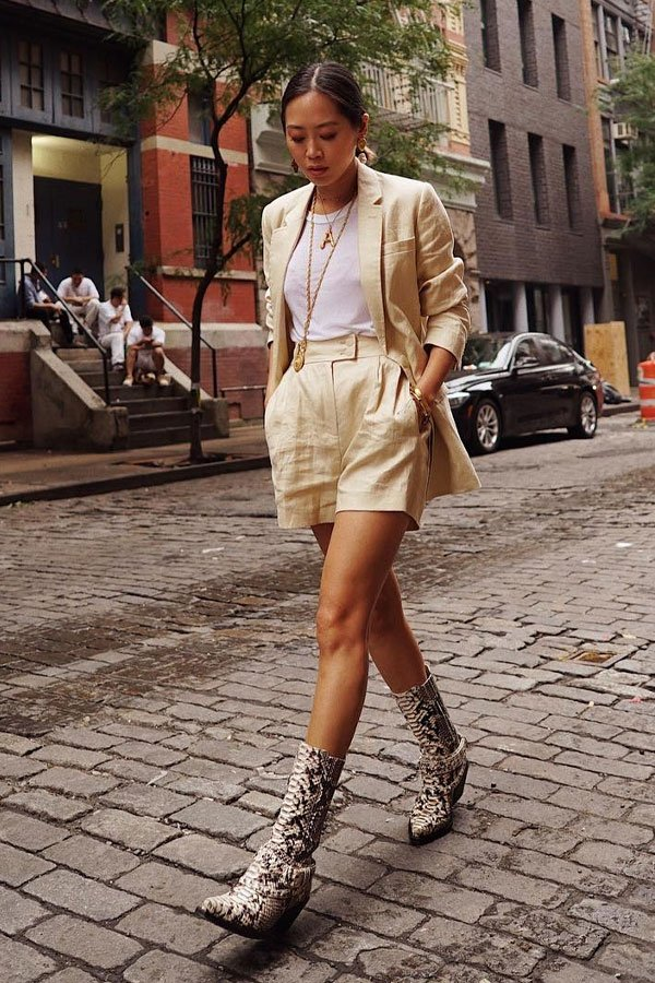 Aimee Song - short e blazer - linho - meia-estação - street style