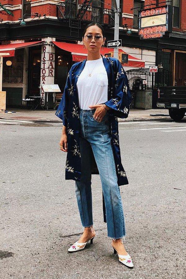 Aimee Song - calça jeans e kimono - kimono - meia-estação - street style