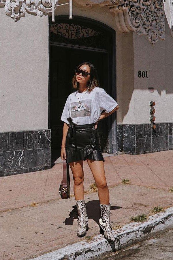 Aimee Song - saia de couro e t-shirt - Western boots - meia-estação - street style
