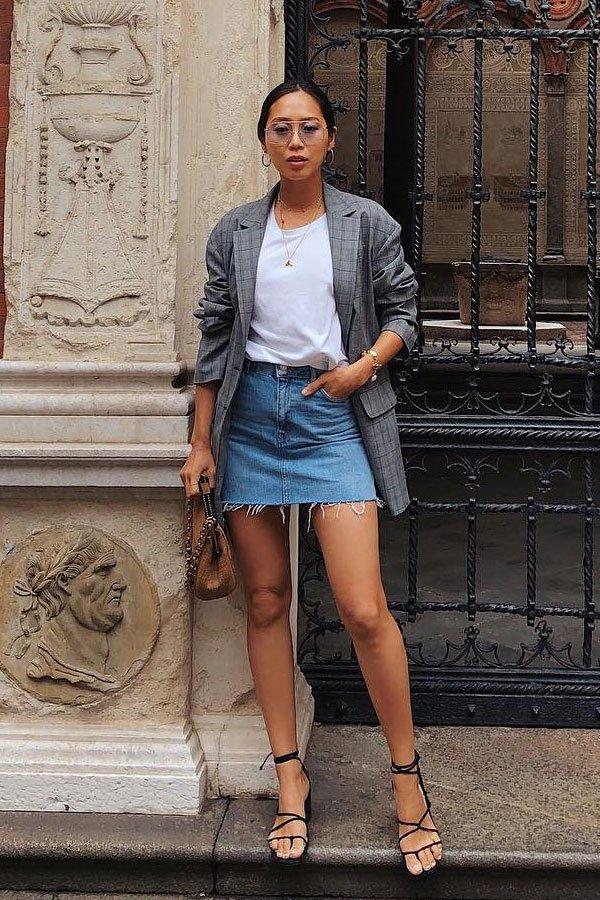 Aimee Song - saia jeans e blazer -      - meia-estação - street style