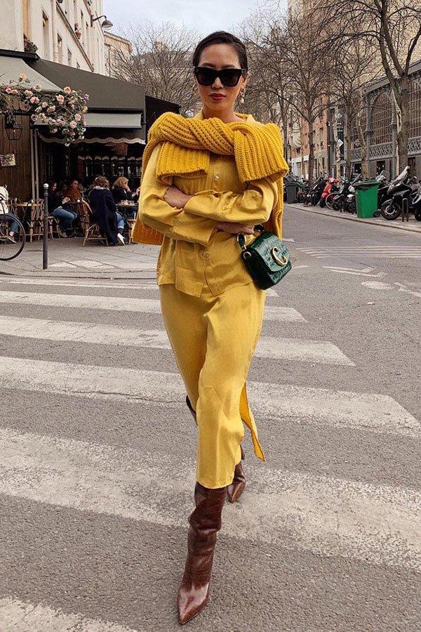 Aimee Song - calça e sueter amarelo - amarelo - outono/INVERNO - street style