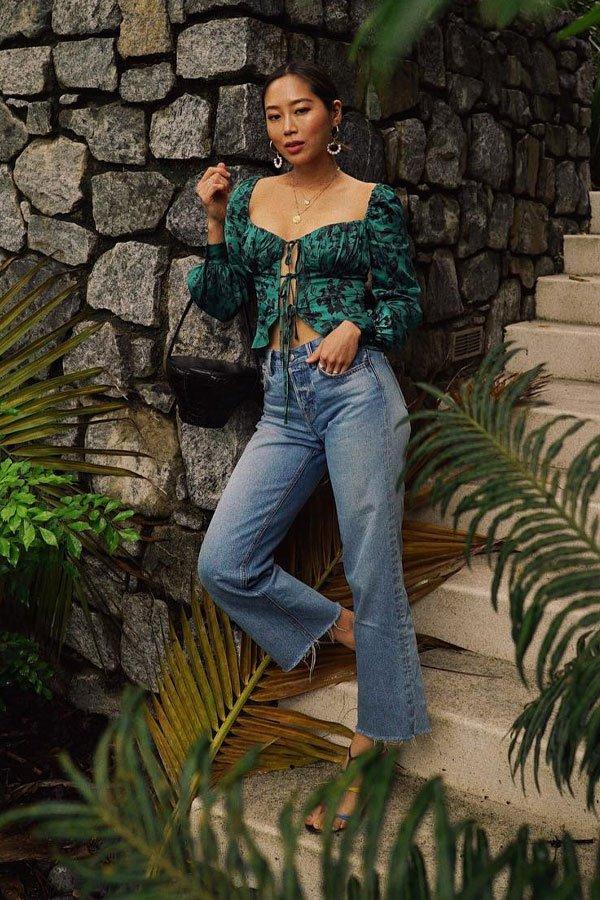Aimee Song - calça jeans e cropped -     - verão - street style
