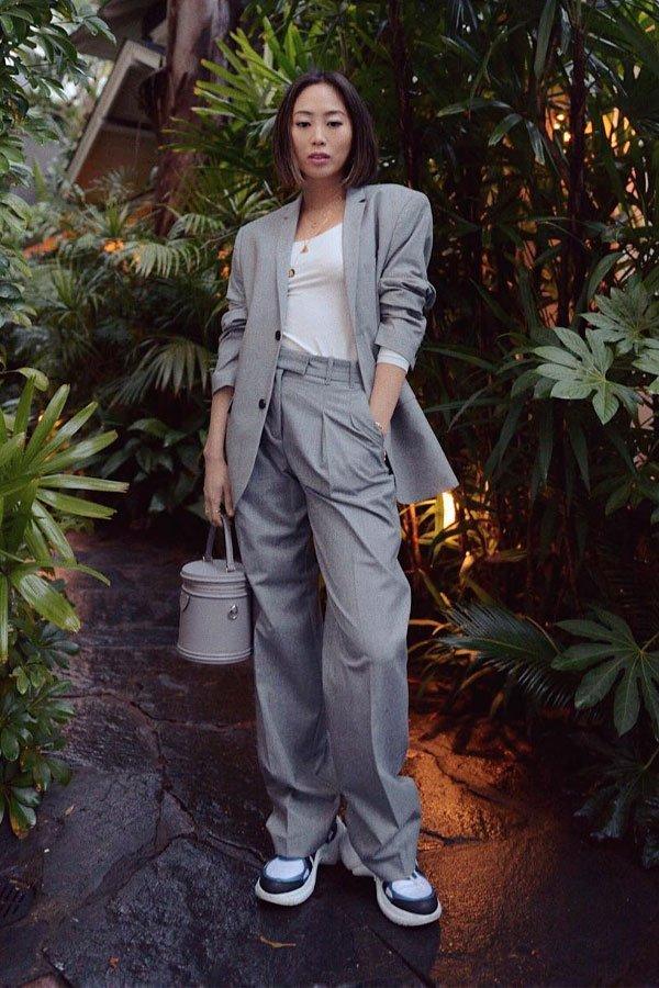 Aimee Song - conjunto de alfaiataria - alfaataria com tênis - outono/INVERNO - street style