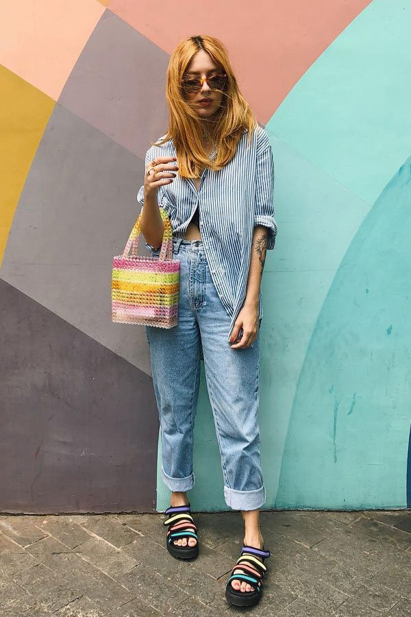 Ali Santos - jeans and shirt - mom jeans - mid-season - street style