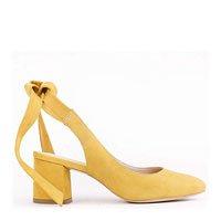Scarpin Olimpia Couro Nobuck Amarração Amarelo