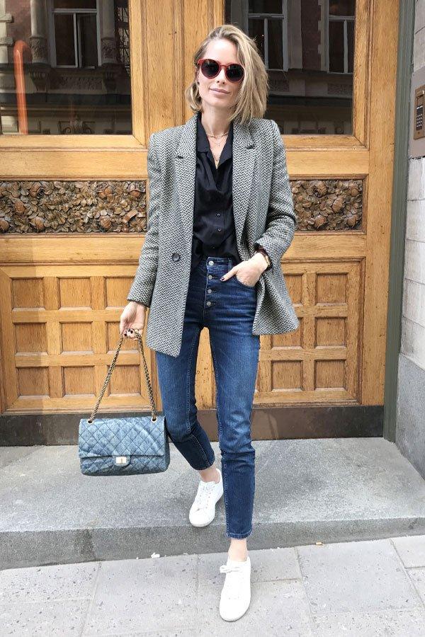 Anine Bing - blazer, camisa e calça - camisa de seda - outono/INVERNO - street style