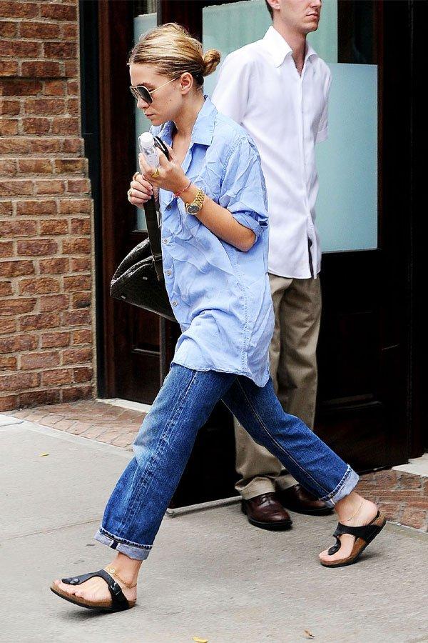 Ashley Olsen - camisa social e calça jeans - olsen  - meia-estação - street style