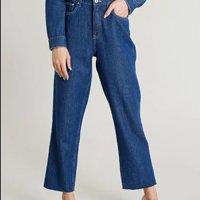 calça jeans feminina mindset reta oversized azul médio