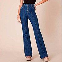 Calça Pantalona Jeans Pespontos