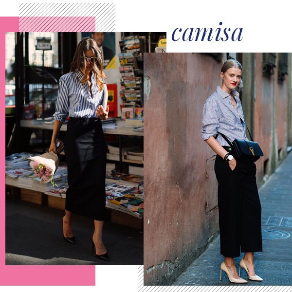 reprodução pinterest - camisa - office look - outono/INVERNO - street style