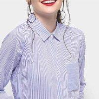 Camisa Drezzup Manga Longa Listrada Feminina - Marinho+off White - G