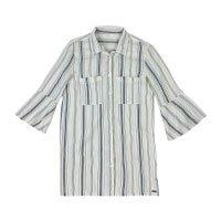 Camisa Listrada Em Tecido De Algodão Com Detalhes Maquinetados