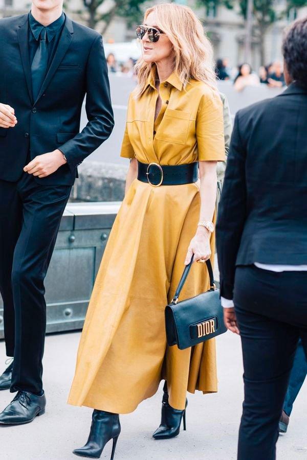 Celine Dion - vestido-amarelo - amarelo - outono - street-style