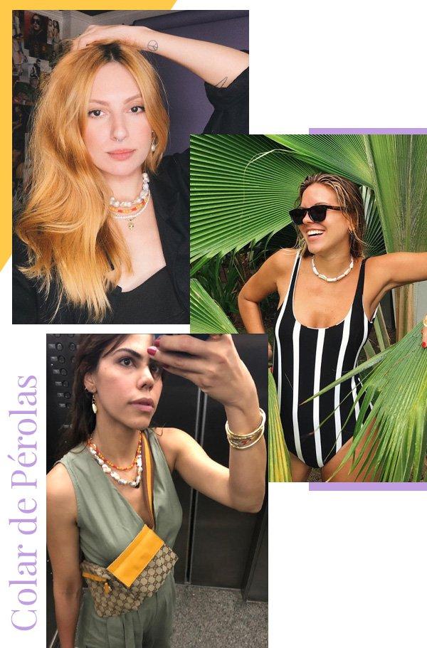 Ali Santos, Nathalia Medeiros, Catharina Dieterich - colares - pérolas - outono - street style