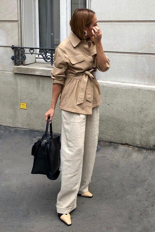 Desirée Kastull - calça linho e casaco - trench coat - inverno - street style