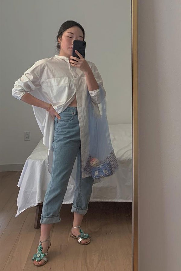 Gabriela Song - shirt and pants - mom jeans - half-season - street style