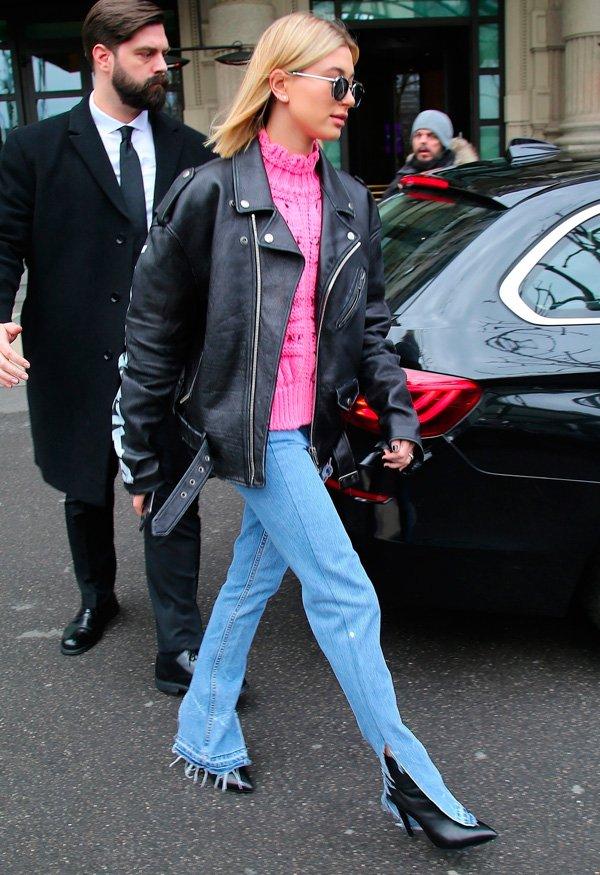 Hailey Baldwin - jaqueta-de-couro - couro - inverno - street-style