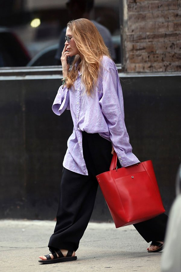 Mary-Kate Olsen - calça e camisa - olsen - meia-estação - street style