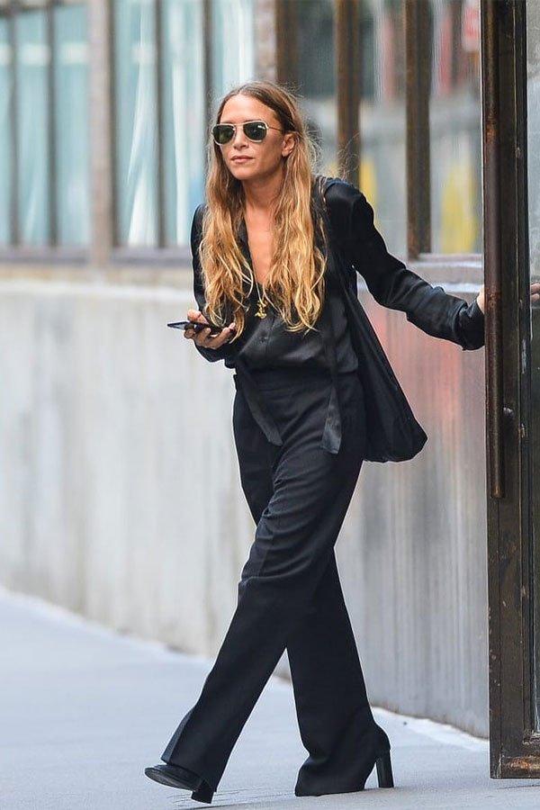 Mary-Kate Olsen - conjunto de alfaiataria - olsen  - meia-estação - street style