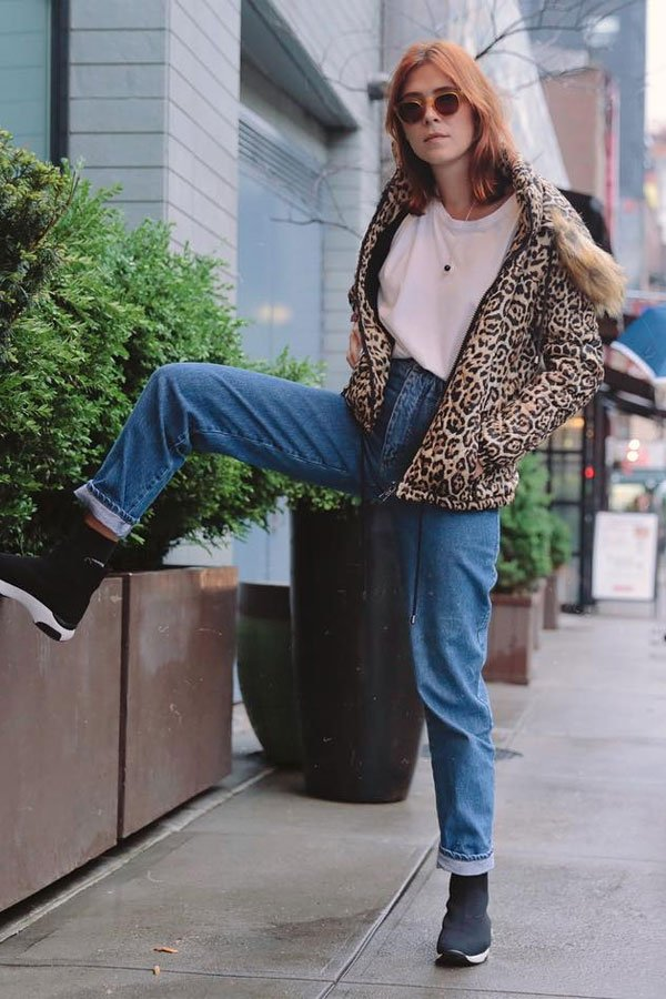 Martha Pinel - jeans, jacket - mom jeans - winter - street style