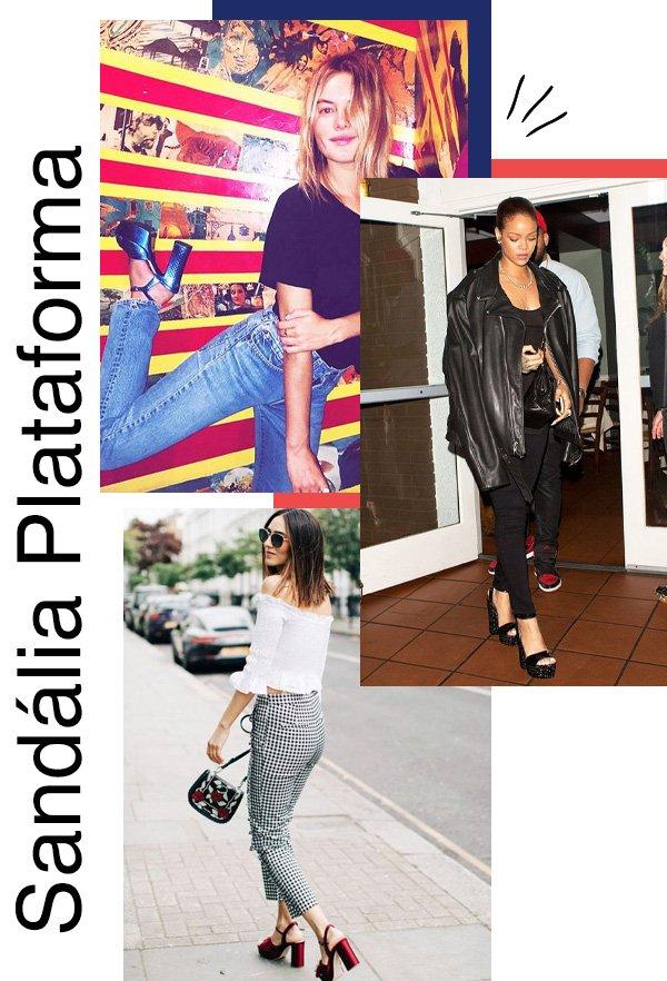 Camille Rowe, Rihanna - plataforma sandalia - balada - meia-estação - street style