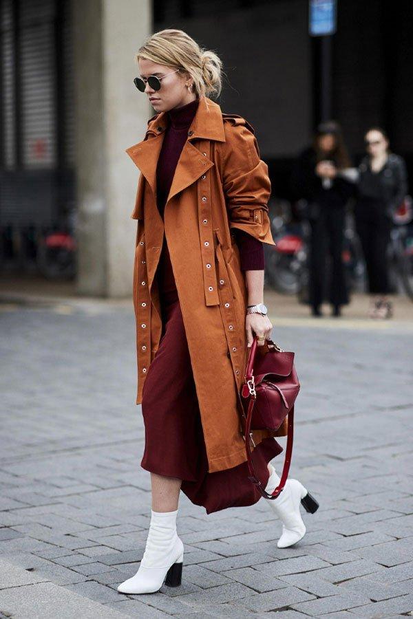 reprodução pinterest - vestido e casaco - trench coat - inverno - street style