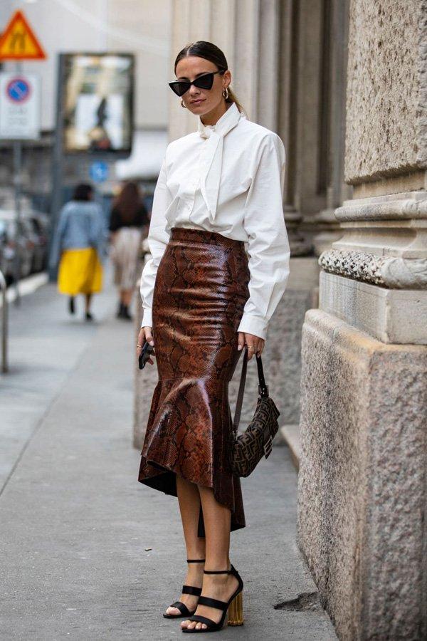 reprodução pinterest - saia e camisa - midi - meia-estação - street style