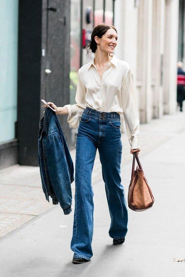 reprodução pinterest - camisa e calça jeans - camisa de seda - meia-estação - street style