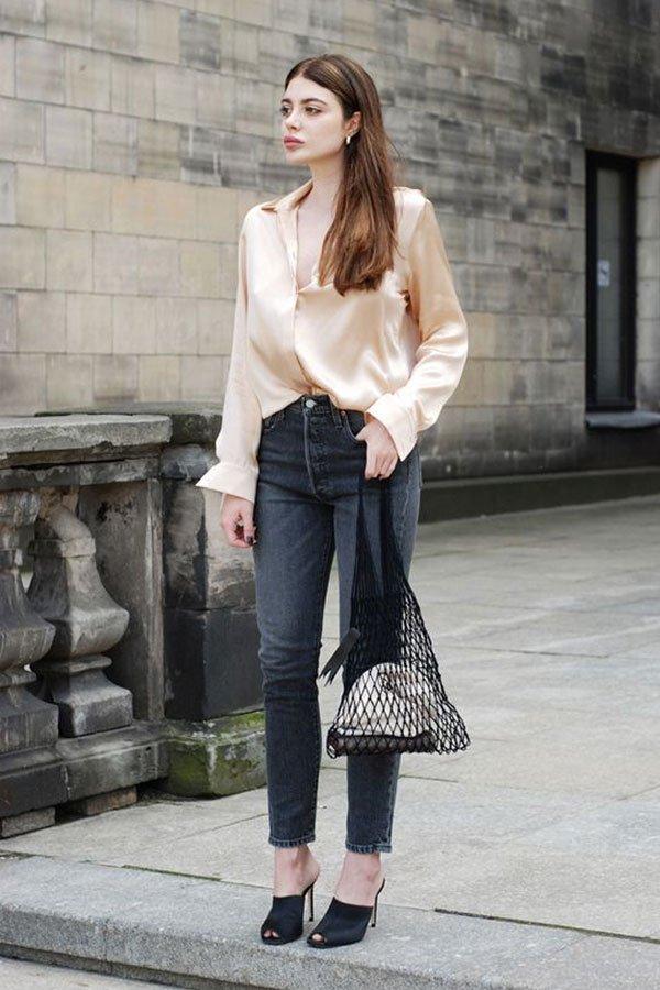reprodução pinterest - camisa e calça - camisa de seda - meia-estação - street style
