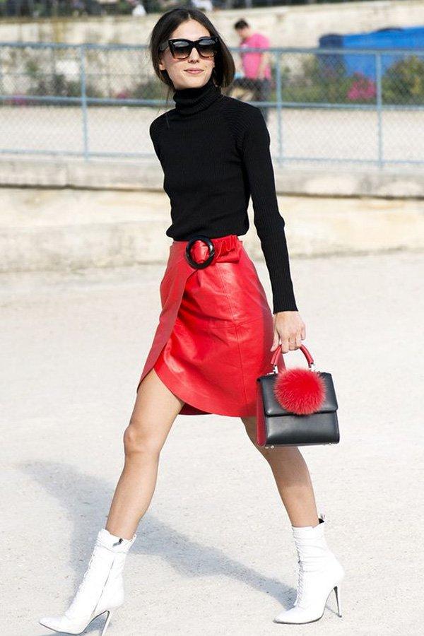 reprodução pinterest - saia de couro - couro - outono - street style