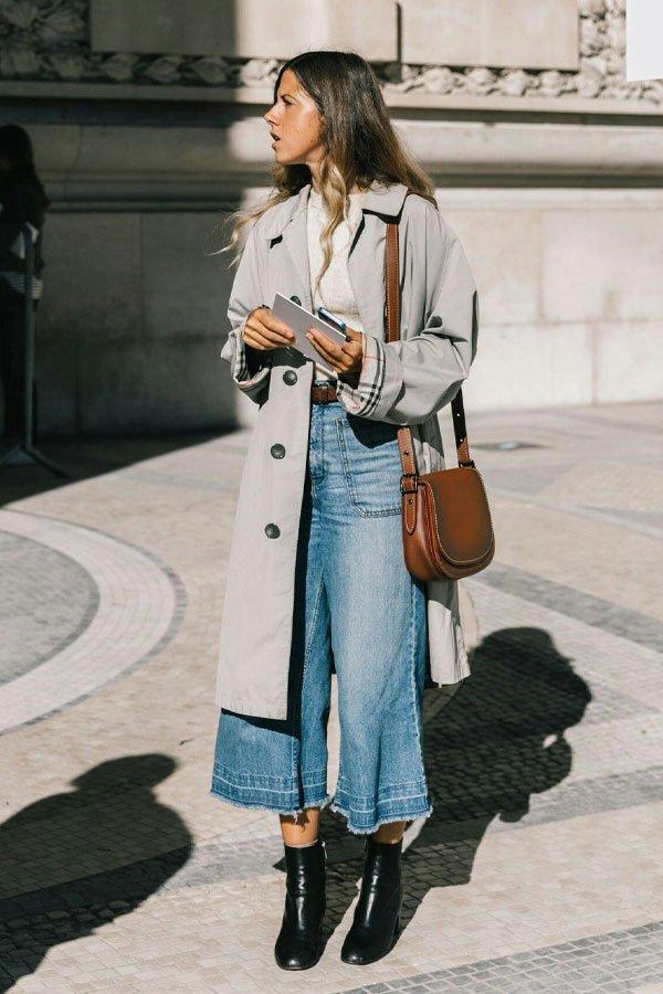 reprodução pinterest - calça jeans - trench coat - inverno - street style