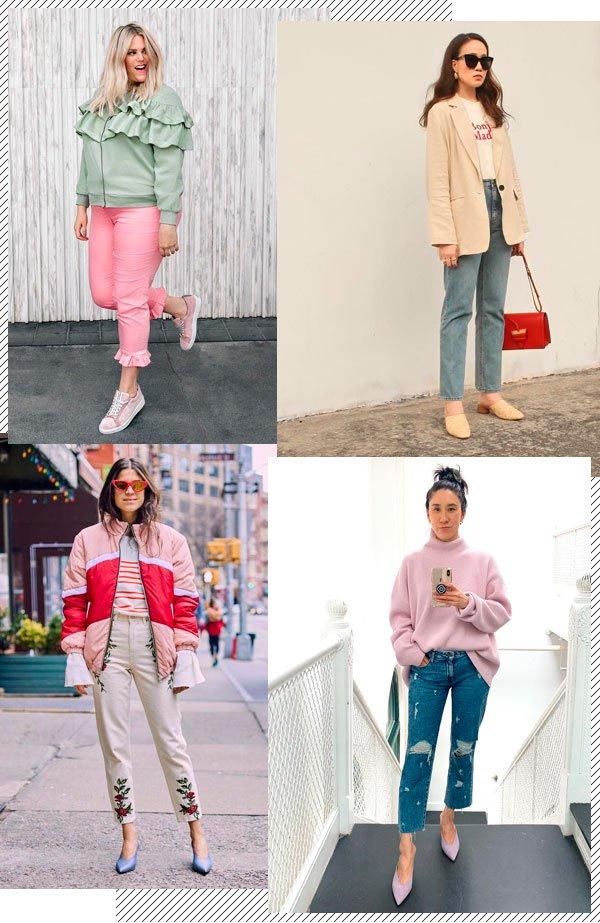 Alex Michael May, Phoebe Soup, Leandra Medine, Eva Chen - sapato-colorido - tons pastel - inverno - street-style