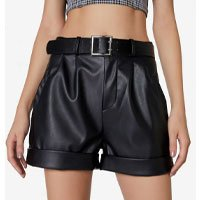 Shorts Leather Com Cinto