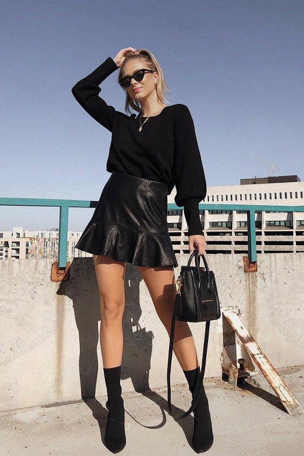 Sophie Suchan - saia de couro - couro - meia-estação - street style